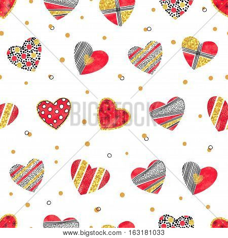 Valentines day pattern with hearts. Vector romantic background.