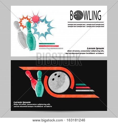 Bowling vector poster flyer or banner design. Colorful bowling pins and balls illustration.