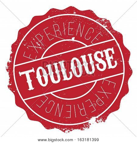Toulouse stamp. Grunge design with dust scratches. Effects can be easily removed for a clean, crisp look. Color is easily changed.