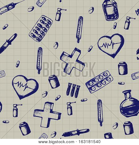 Healthcare and medicine. Vector doodle seamless pattern with thermometer, heart, syringe, pipette, stethoscope and pills. Medical hand drawn icons on checkered background.