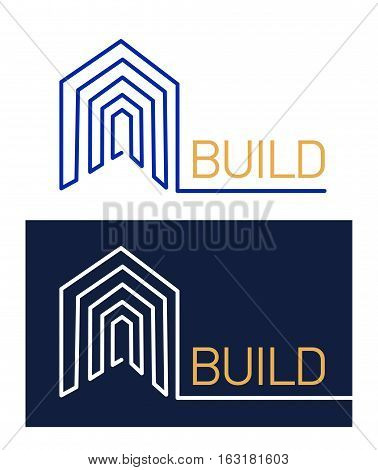 Logo abstract for a construction company. template design logo build line on white and black background. isolated vector logo home.
