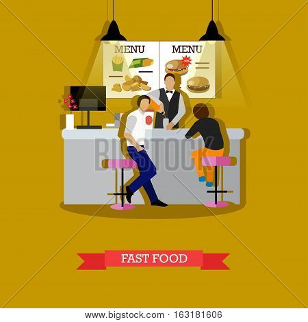 Fast food concept vector illustration in flat style. Man serving visitors young man and woman. Fast food restaurant interior.