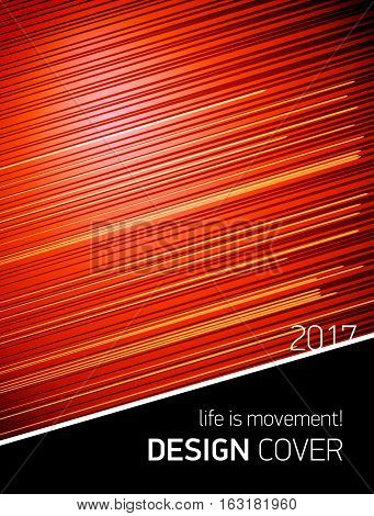 Template Design cover. Life is movement. vector lines and movement on red background for business projects. annual report 2017, book cover, brochure.