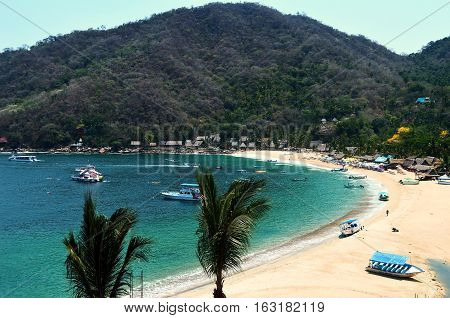 Beach and mountains at Yelapa,Jalisco,Mexico near Puerto Vallarta.