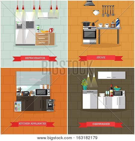 Vector set of kitchen interior posters, banners with kitchen appliances, refrigerator, stove, dishwasher. Home interior, illustration in flat style