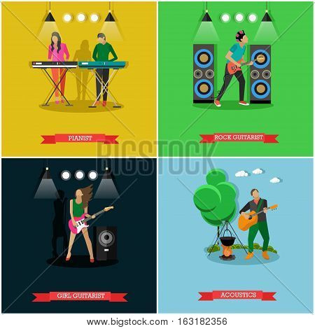 Boys and girls playing electric guitar and piano on stage. Young man playing acoustic guitar near campfire. Vector set of banners with young musicians, flat style