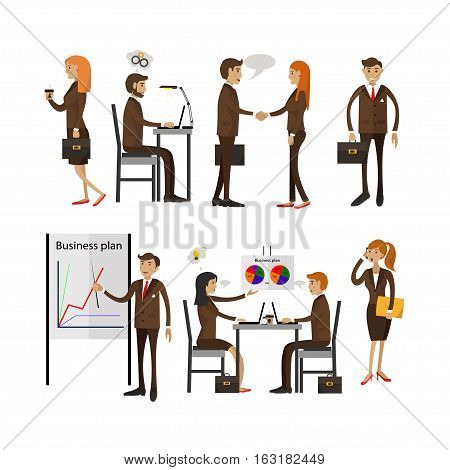 Vector set of office people characters isolated on white background in flat style. Business people having meetings, demonstrating business plan. Office life and supplies.