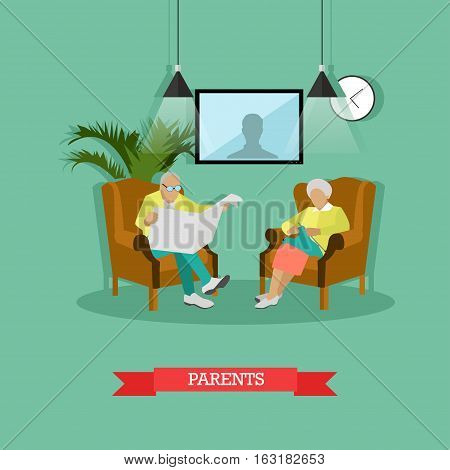 Vector illustration of parents sitting in armchairs. Man is reading newspaper, woman is knitting. Living room interior. Family concept design element in flat style.