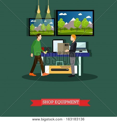 Vector illustration of shop consumer equipment and electronics in flat style. People shopping and selling goods. Buyer is going to take cardboard box from shop assistants hands.