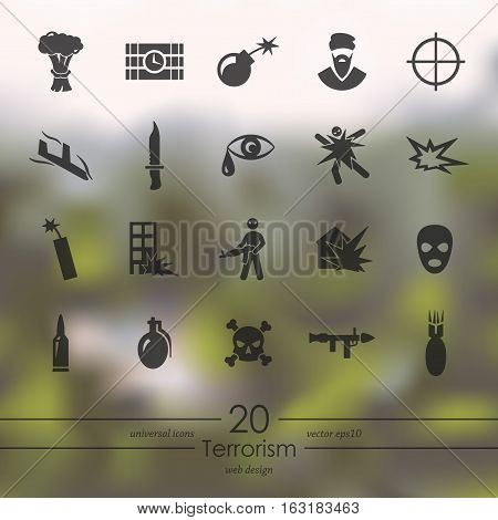 terrorism modern icons for mobile interface on blurred background
