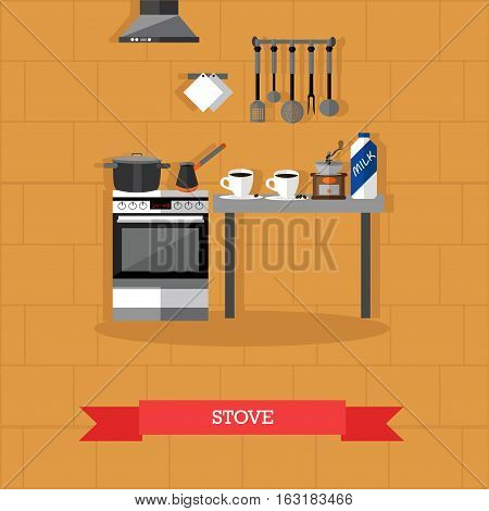 Vector illustration of stove. Kitchen interior with furniture and utensils in flat style. Pan, cups of coffee, coffee maker, grinder and milk.