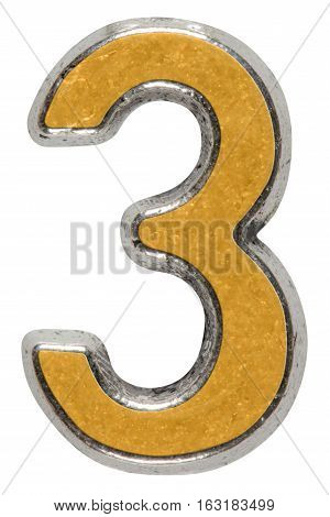 Metal numeral 3 three isolated on white background