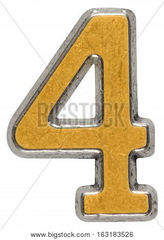 Metal numeral 4 four isolated on white background