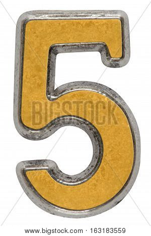 Metal numeral 5 five isolated on white background