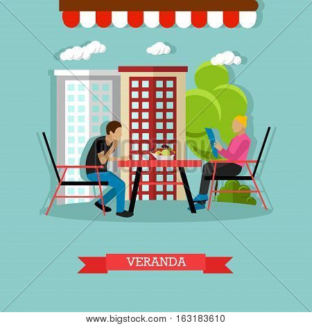 Street cafe concept vector illustration in flat style. Man and woman sitting at the table on veranda. Woman is reading menu.