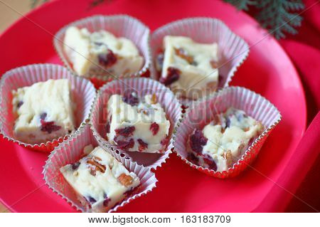 Holiday fudge made from white chocolate dried cranberries and pecans