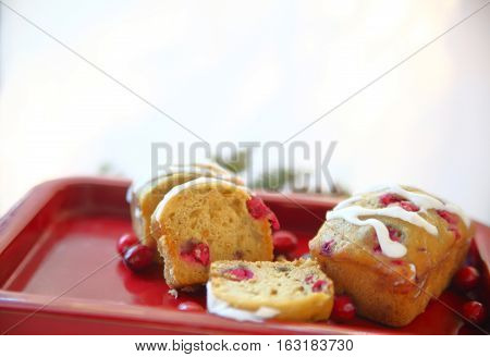 Small fresh cranberry loaf cakes with icing and copy space