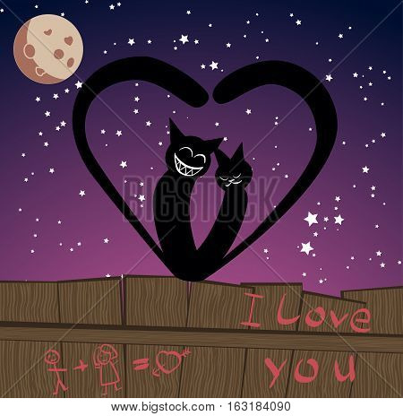 bright sant Valentine day card, with two cats in love sitting on fense on it