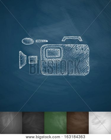 camcorder icon. Hand drawn vector illustration. Chalkboard Design
