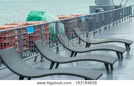 Chair or sunbathing on the deck ferry