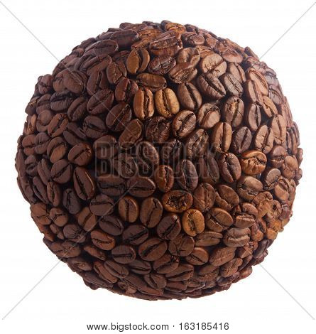 Ball with glued grains of coffee on a white background.