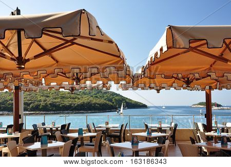 The interior of the outdoor cafe on the seafront. Croatia