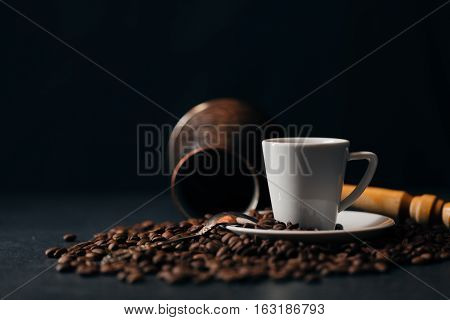 Coffee. Turkish Coffee. Armenian Turkish Coffee. Cezve And Cup Of Coffee. Traditional Serving Coffee