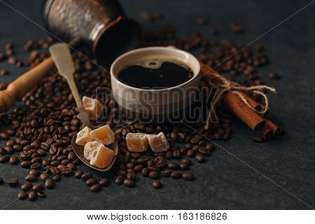 Roasted Coffee Beans In Turkish On Table