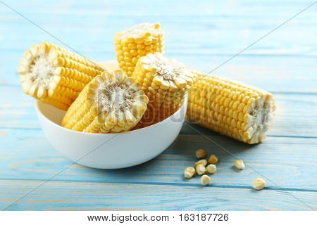 Sweet Corn On A Blue Wooden Table