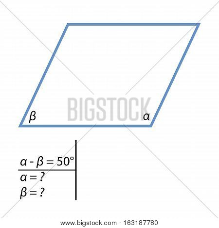 Geometric problem to find parallelograms angles. One of the corners of a parallelogram 50 degrees less than the other. Find the angles of a parallelogram.