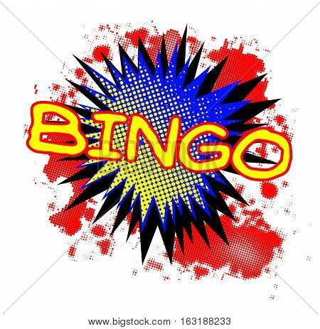 A comic cartoon style Bingo exclamation explosion over a white background