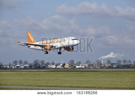 Amsterdam Airport Schiphol - Easyjet Switzerland Airbus A320 Lands