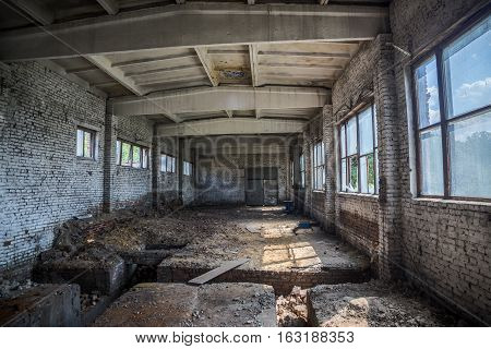Abandoned small industrial building. Former boiler room