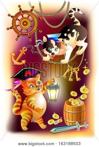 Illustration to the children's tale. Two cats are looking for treasure in the pirate ship. Vector cartoon image.