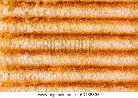 Abstract background of close up on toasted bread with grill marks