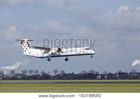 Amsterdam Airport Schiphol - Croatia Airlines Bombardier Dash 8 Lands