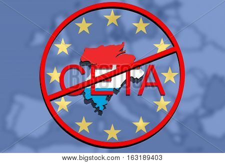 Anty Ceta - Comprehensive Economic And Trade Agreement, Luxembourg Map On Europe Background