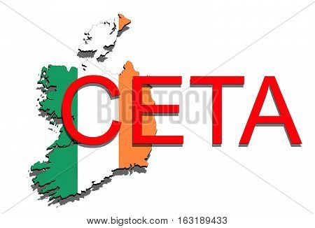 Ceta - Comprehensive Economic And Trade Agreement On White Background, Ireland Map