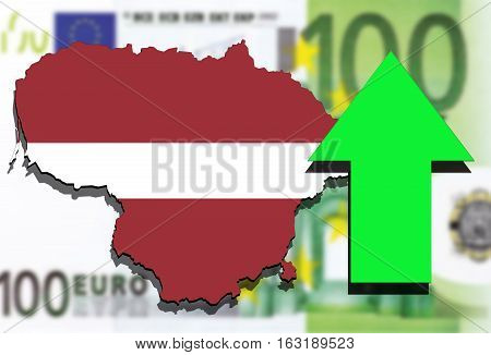 Lithuania Map On Euro Money Background And Green Arrow Up