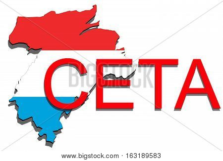 Ceta - Comprehensive Economic And Trade Agreement, Luxembourg Map On White Background