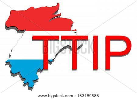 Ttip - Transatlantic Trade And Investment Partnership On Luxembourg Map