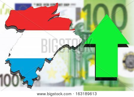 Luxembourg Map On Euro Money Background And Green Arrow Up