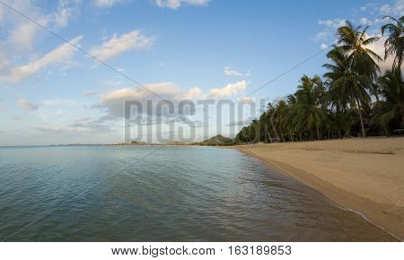 Beach on shore front at resort Maenam Samui Thailand