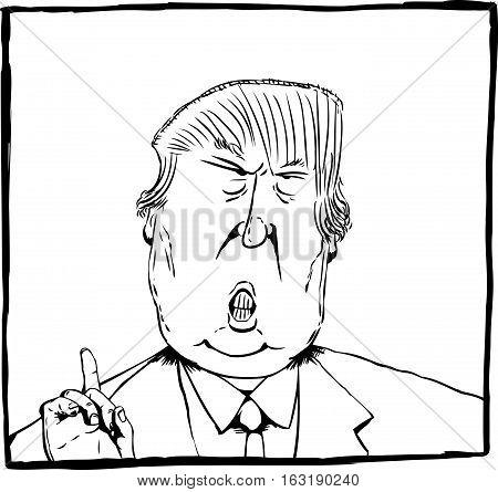 Dec. 27 2016. Cartoon outline caricature of President Elect Donald Trump