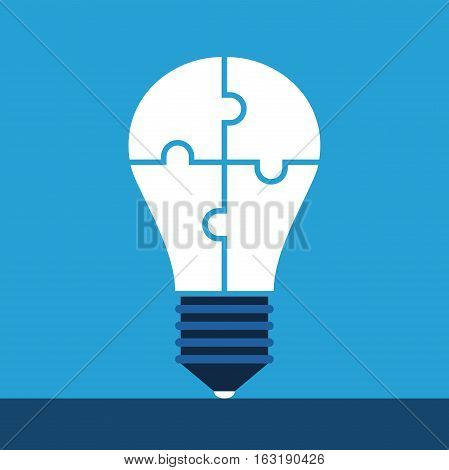 White light bulb assembled of puzzle pieces standing on blue background. Idea, solution and innovation concept. Flat style. EPS 8 vector illustration, no transparency