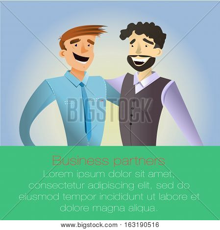 Successful busines deal of business partners. Vector colorful illustration in flat design style