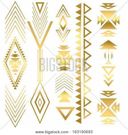 Flash tatto gold geometric ornament. Summer style. Aztec flash tattoo. Tribal gold abstract geometric elements. Vector illustration