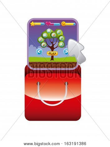 red shopping bag with video game interface icon over white background. colorful design. vector illustration
