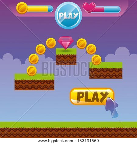 video game interface with coins, heart and diamond icon. colorful design. vector illustration