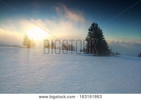 foggy winter sunrise on mountaintop Feldberg Germany